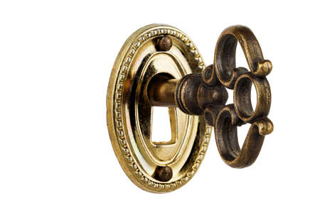 Macro del ojo de la cerradura en clave retro aislado en blanco Foto de archivo - 31830291