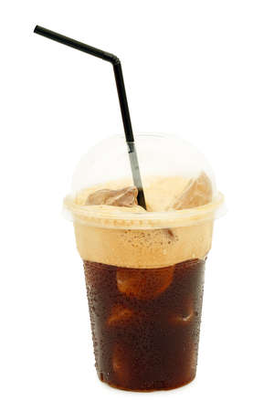 iced coffee or frappe in plastic cup isolated on white