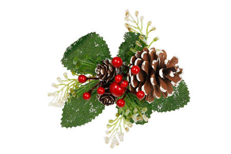 christmas ornaments: xmas decoration with pine cone and mistletoe