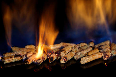 amount of burning wood pellets closeup