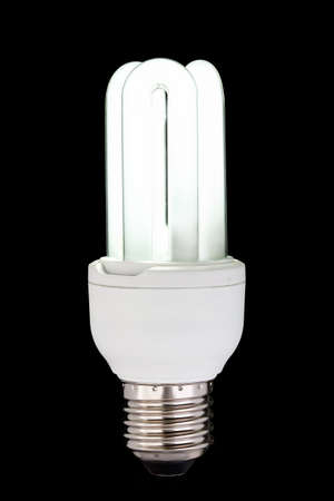 economize: energy saving fluorescent light bulb on black