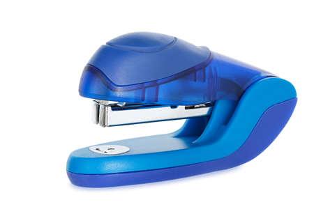 staplers: blue stapler isolated on white