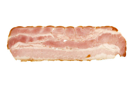 uncooked bacon: slice of bacon isolated on white