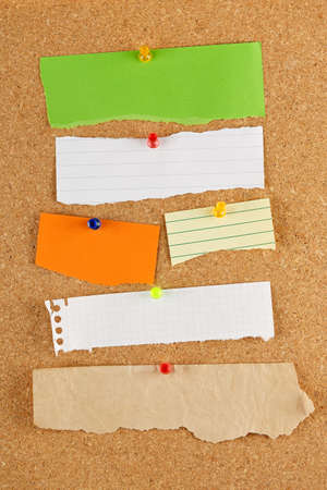 noteboard: variety of blank torn notes on cork notice board