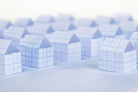 milimetr: miniaturowe domy papierowe wykonane z papier milimetrowy Zdjęcie Seryjne