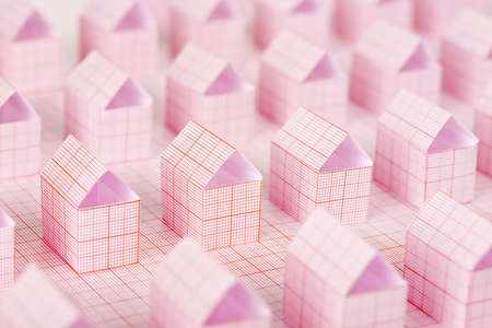 millimeter: miniature paper houses made with millimeter paper