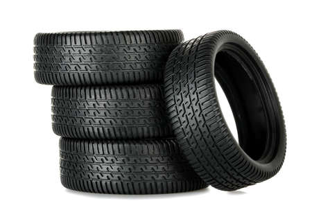 tire: set of miniature tires isolated on white
