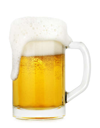 overflow: full glass of beer isolated on white