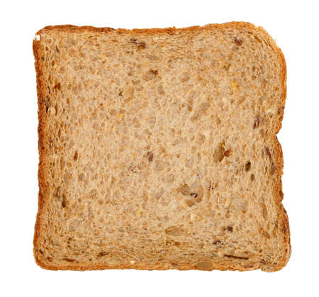 スライス全粒小麦のトーストのパンに分離ホワイト
