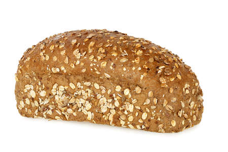 whole grain: loaf of whole grain bread isolated on white