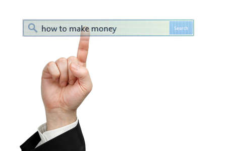 male hand pressing a how to make money search bar, internet and business concept photo