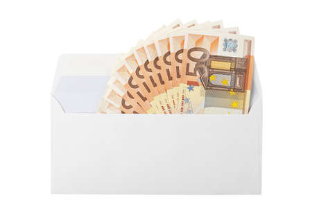 economize: envelope with fifty-euro banknotes isolated on white