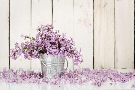 lilac flowers in tin bucket against wooden planks Zdjęcie Seryjne