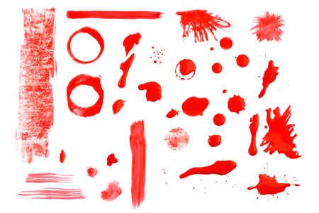 peinture rouge: collection de rouges peinture splats, blobs et des formes sur blanc