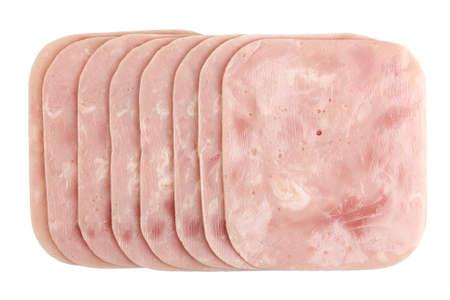 jamon: lonchas de jamón aislados en blanco