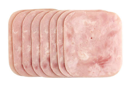 ham slices isolated on white