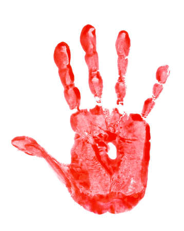 red hand: red hand print isolated on white Stock Photo