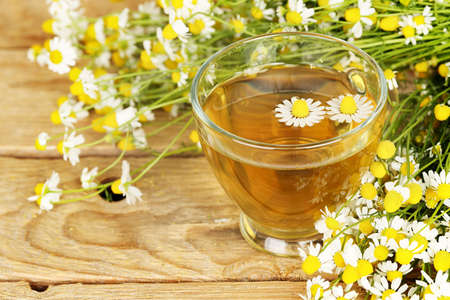 herb tea: cup of chamomile tea with chamomile flowers on wooden planks
