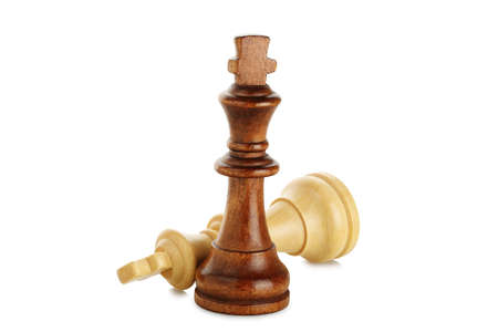 white and brown chess kings isolated on white, chess concept Stock Photo
