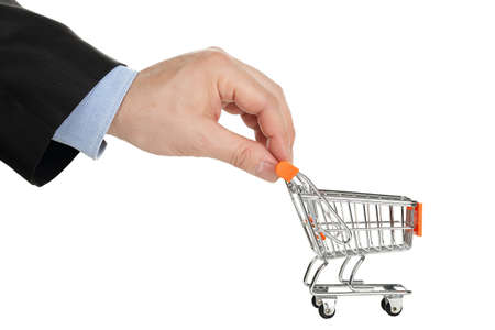 shopping cart isolated: hand with shopping cart isolated on white