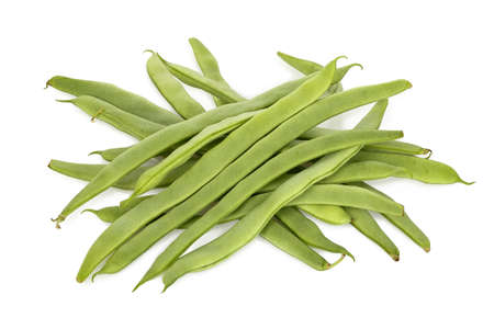 heap of uncooked runner beans on white