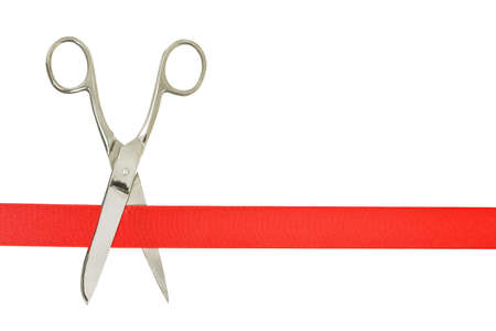 scissors and red ribbon isolated on white, opening concept