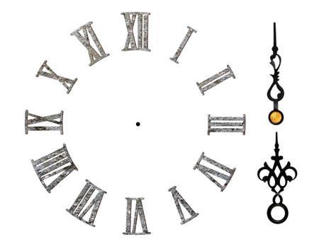 stone-textured roman clock face isolated on white Stockfoto