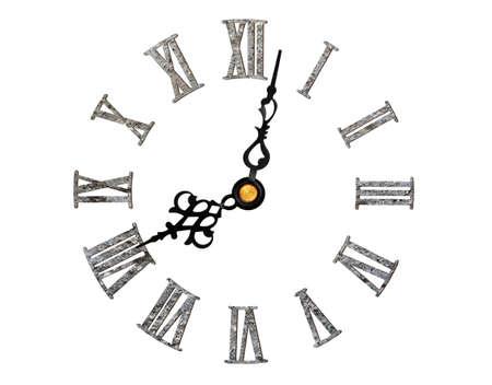 reloj antiguo: reloj romano de piedra de textura aislado en blanco Foto de archivo