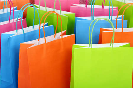 gift bags: close up of colorful paper shopping bags