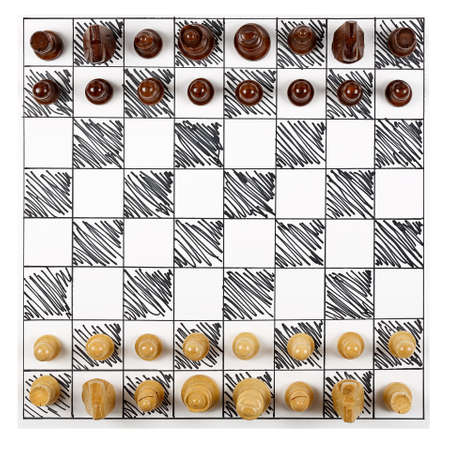 chess board: top view of hand-drawn chessboard with wooden pieces Stock Photo