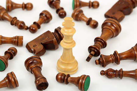 opponents: white chess king surrounded by fallen opponents on white