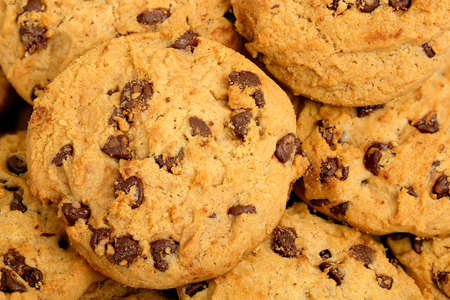 chocolate cookies: close up of chocolate chip cookies