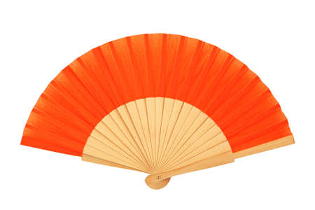 orange folding fan isolated on white
