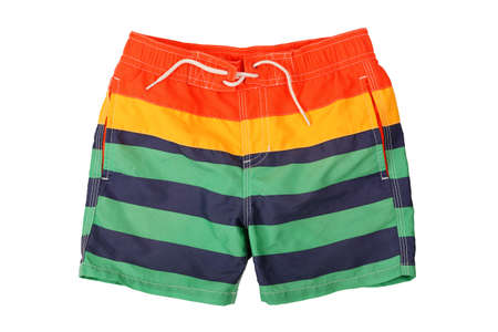 trunk: colorful swimming trunks isolated on white Stock Photo