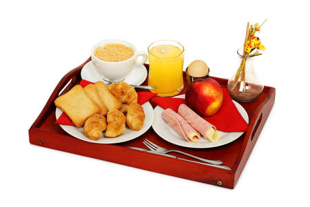 fruit plate: breakfast meal on wooden tray isolated on white