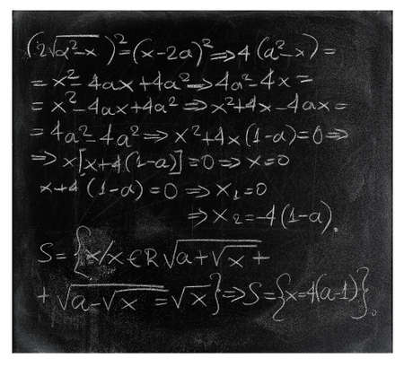 equation: equation written with chalk on black chalkboard Stock Photo