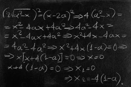 equation written with chalk on black chalkboard Imagens