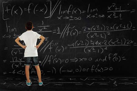 add: student looking at a huge blackboard with a difficult equation, school concept