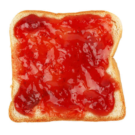 strawberry marmalade on bread slice isolated on white