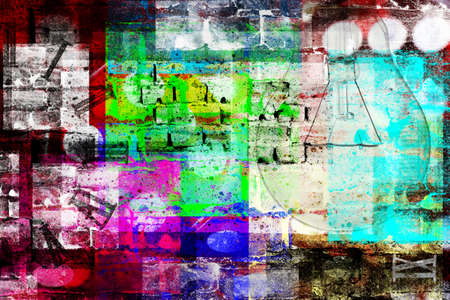 envision: grungy style of abstract image composed of many elements and colors
