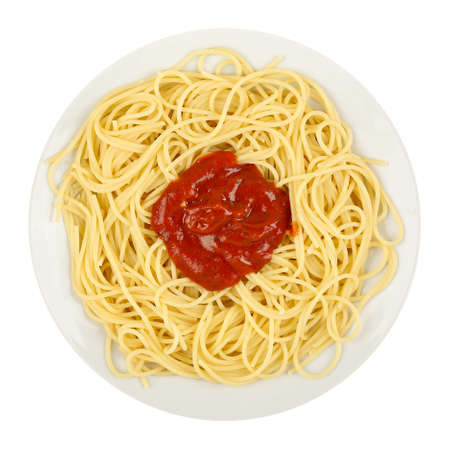 pasta sauce: spaghetti with tomato sauce isolated on white background