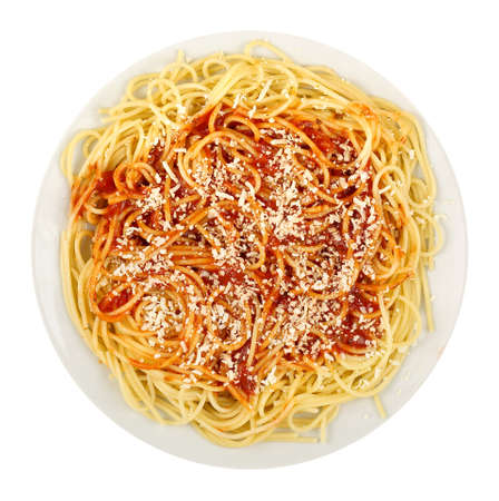 isolated on yellow: spaghetti with tomato sauce and grated cheese isolated on white background