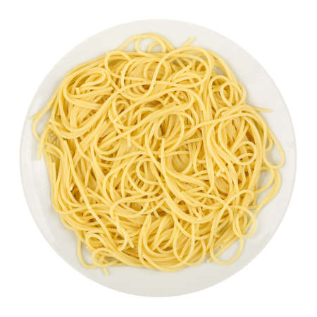 llanura: dish of spaghetti isolated on white background