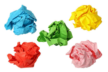 creasy: five colorful crumpled paper balls isolated on white