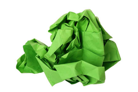 creasy: crumpled green paper ball isolated on white