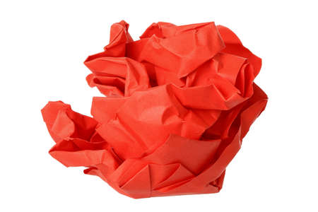 creasy: crumpled red paper ball isolated on white