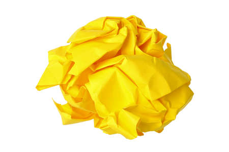creasy: crumpled yellow paper ball isolated on white