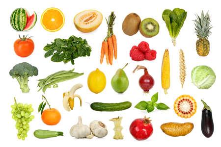 과일과 채소의 컬렉션 흰색으로 격리