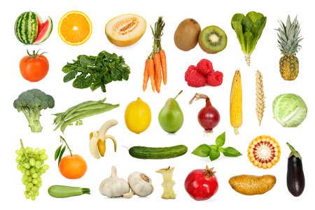 collection of fruits and vegetables isolated on white Stock Photo