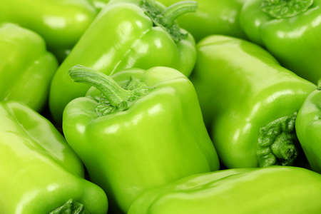 bell peppers: close up of fresh green bell peppers